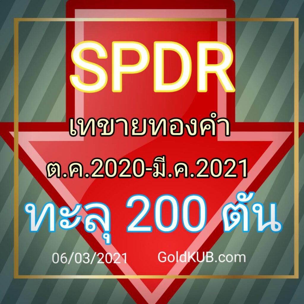SPDR เทขายทองคำหนัก จาก ต.ค. 2020 – ปัจจุบัน ทะลุ 200 ตัน